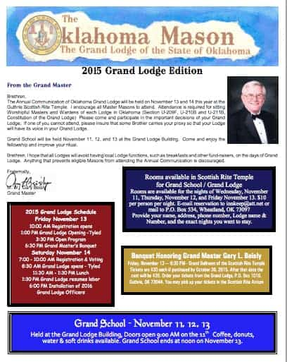 The Oklahoma Mason Magazine – Fall 2015 – Grand Lodge Electronic Edition