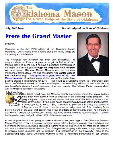 The Oklahoma Mason Magazine – Summer 2016 – Grand Lodge Electronic Edition