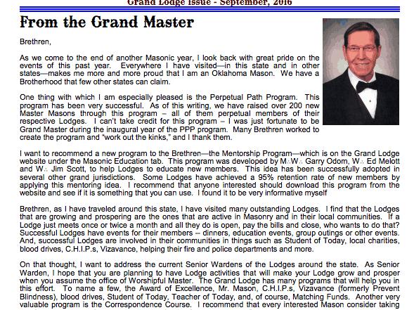 The Oklahoma Mason Magazine – Fall 2016 – Grand Lodge Electronic Edition