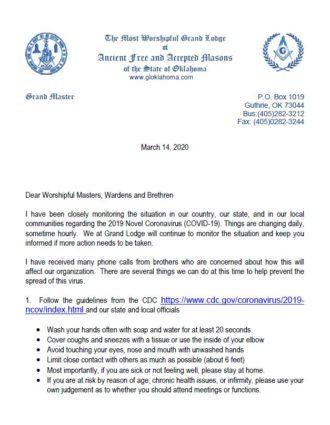 Grand Master's Letter on the Corona Virus (COVID-19)
