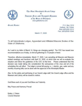 Cancellation of Masonic Activities