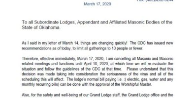 Cancellation of Masonic Activities