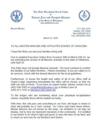 Grand Master's Letter #2 on the Corona Virus