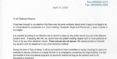 Grand Master's Edict on Electronic Meetings