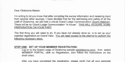 2020 Grand Lodge Virtual Communication